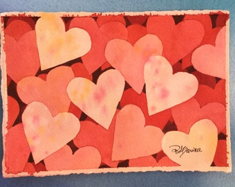 Hearts An Original Watercolor Painting 5x7 inch