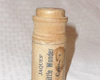 1920s Vintage Jaques' Little Wonder Capsules Wooden Pill Bottle Advertising