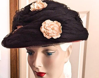 Vintage 1950s 1960s Beehive Hat Womens 50s 60s Black Tulle Pink Flowers Pink Hat Retro New Look Gift Idea