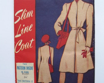 """1940s Coat - 34"""" Bust - Weldons So Easy 97 - Vintage Sewing Pattern - Home Front WW2"""