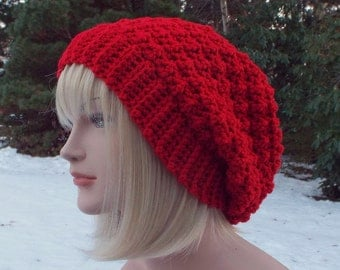 Red Crochet Hat, Womens Slouchy Beanie, Slouchy Hat, Oversized Slouch Beanie, Chunky Hat, Winter Hat, Slouch Hat, Baggy Beanie