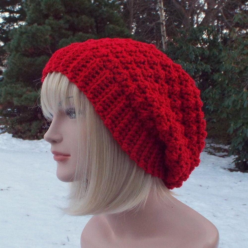 Crochet Slouch Hat: Red Crochet Hat Womens Slouchy Beanie Slouchy Hat Oversized