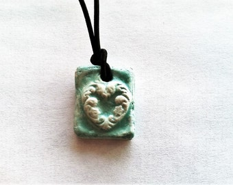 Aromatherapy Jewelry Necklace Essential Oil Diffuser Ceramic Clay Pottery Old World Style Rustic  Necklace Pendant
