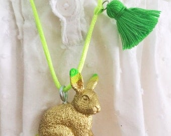 Rabbit Necklace Neon Jewelry Tassel Necklace Easter Bunny Gift Easter Jewelry Girls Rabbit Necklace Spring Jewelry