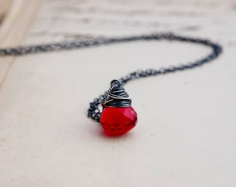 Cherry Bomb Necklace, Cherry Pendant, Cherry Red, Wire Wrapped, Sterling Silver, Candy Apple, Bright Red, Hydroquartz, Gemstone Necklace