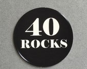 40th Birthday Stickers - 40 ROCKS, Round 1 1/2 Inch Handmade Stickers, Black, Set of 12 - READY To SHIP
