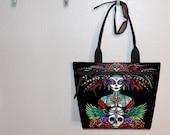 Tote Bag, book tote, large purse, canvas tote, shoulder bag, gym bag, diaper tote, Myka Jelina Beautiful Bones