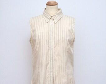 Sleeveless shirt, Collared women's shirt, Striped top