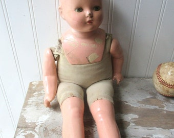 Vintage doll composition and cloth baby toddler Shabby bald 16 inch cute creepy doll B3