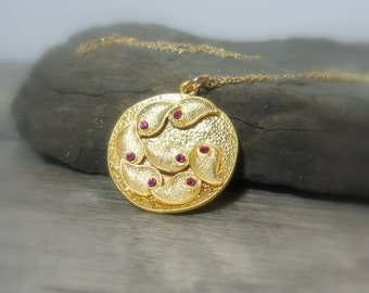 """Gold Disc Paisley Pendant, Fuschia Crystal Vermeil, Cable Chain 18"""", Gift for Her"""