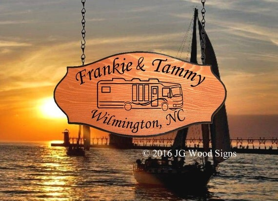 Personalized RV Sign - RV Camper Graphic - Custom Camp Sign Redwood - JG Wood Signs - Carved Camping Sign