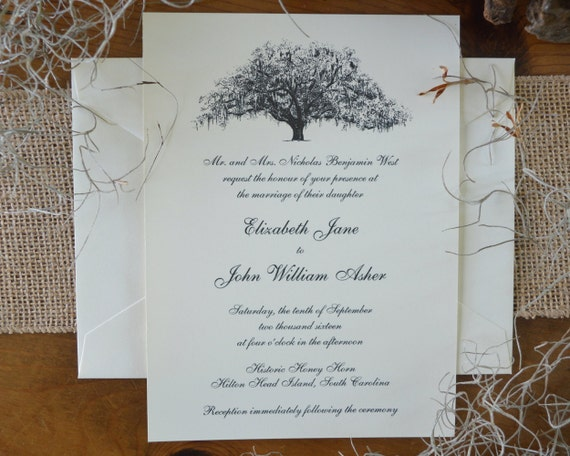 Elegant Savannah Live Oak Tree Wedding Invitations