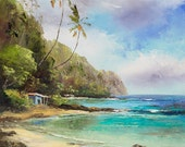 TROPICAL SHACK Original 11x14 Palette Knife Oil Painting Art Tiki Hut Palm Tree Mountains Tahiti Hawaii Island Secluded Ocean Sea Tropics