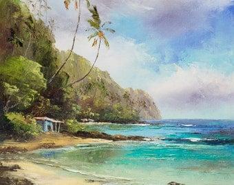 TROPICAL SHACK Original Palette Knife Oil Painting 14x11 Art Tiki Hut Palm Tree Mountains Tahiti Hawaii Island Secluded Ocean Sea Tropics