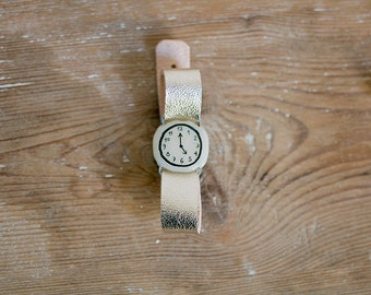 Fake watch bracelet with Golden Leather Band. One-of-a-kind handmade toy watch with recycled leather watchband. Up-cycled golden jewelry.