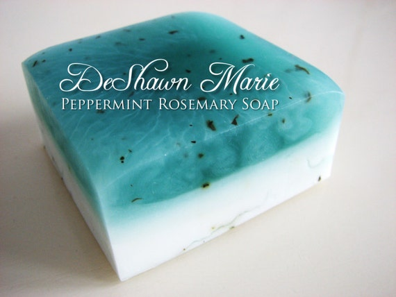SALE SOAP- Peppermint Rosemary Soap - Vegan Soap - Handmade Soap- Soap Gift - Wedding Favors - Soap for Men - Christmas Gift - Mother's Day