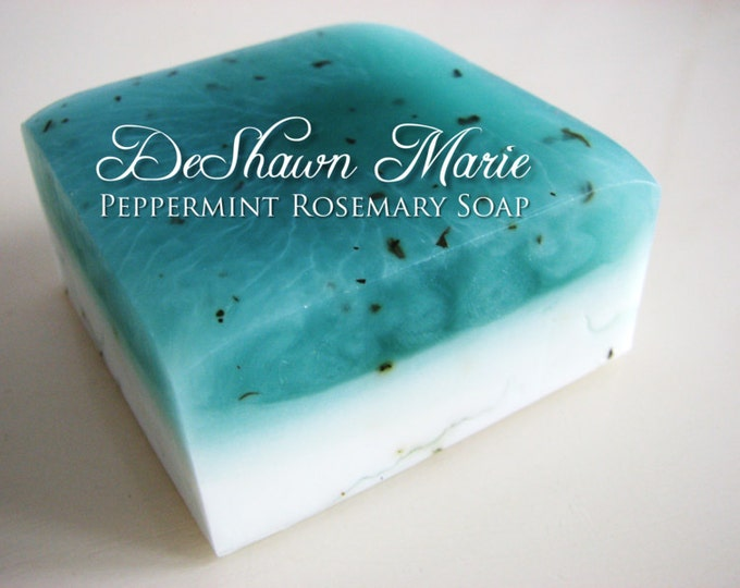 SOAP- Peppermint Rosemary Soap - Vegan Soap - Handmade Soap- Soap Gift - Wedding Favors