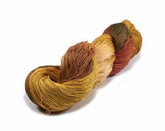 150 Yards Hand Dyed Cotton Crochet Thread Size 10 3 Ply Specialty Thread Dark Yellows Light Brown Rust Bronze Hand Painted Fine Cotton Yarn