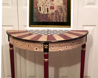 Whimsical Painted Furniture, custom Half moon table, Crescent table, Painted Console Table, harlequin