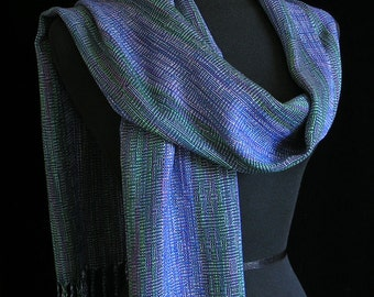 Handwoven Scarf Tencel and Bamboo Scarf- Sparkling Waterfalls