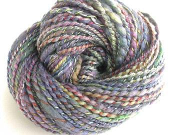 Handspun Yarn Hand Dyed Yarn BFL Wool Silk Bulky Yarn Boho Art Yarn Soft Chunky Yarn Silver Grey 138 yards - Dew Drop