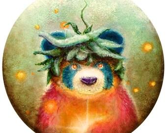 Panda Bear - Pop Art  - Circular Print -  Bears - Symbiosis - Nature - Love - Cute - Painting -  Pop surrealism