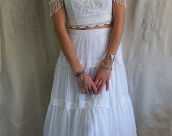 Echo Two Piece Wedding Gown Separates... boho bohemian crop top whimsical dress hippie country fringe high waist skirt eco friendly