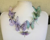 Aurora - Handmade Silk Organza Butterflies Necklace Lilac Pale Pink and Light Teal - Made to Order