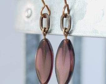 violet modern Czech glass natural brass earrings by CURRICULUM