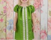 Green Peasant dress, Girl's Easter dress, Summer dress, Spring dress, infant dress, toddler dress, Bohemian dress, sizes Newborn through  6X