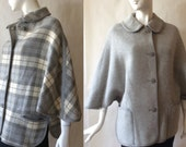 Midcentury Welsch cape / jacket, reversible, gray and cream plaid on one side, solid gray the other, OSFM
