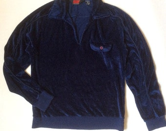 Bruce Jenner early 1980's velour knit top with collar and long sleeves, in navy blue glossy knit, men's small / women's medium