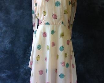 50's pink nylon novelty print dress, Japanese lanterns.