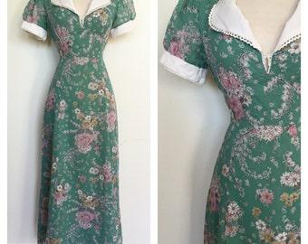 70s does 40s Maxi Dress - 1970s Boho Hippie Full Length Floral Dress
