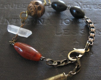 Grimly No. 2 - Grumpy Carved Bone Skull With Stones and Antique Rosary Beads Bracelet