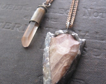 Crystal Bullet Layered Necklace with Stone Arrow Head and Rose Quartz