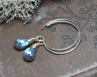 Gold Hoop Earrings Labradorite Earrings Rustic Wire Wrapped Earrings 14k Gold Filled Earrings