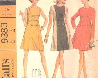 McCalls 9383 1960s Junior Misses A Line Princess Seam Dress Pattern Military Style Womens Vintage Sewing Pattern Size 7 Bust 32