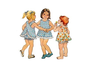 1970s Toddlers Sun Suit Pattern Easy Bloomers and Top Back Cross Pinafore Apron Jiffy Simplicity 7407 Size 1 OR 2 Vintage Sewing Pattern