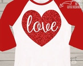 Valentine shirt love sparkly red heart GIRLS raglan shirt - fun red glitter Valentine's Day shirt
