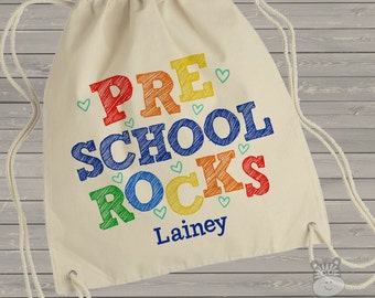 Student cinch sac - adorable preschool rocks personalized cinch sac for preschool, kindergarten, first grade MSCL-020
