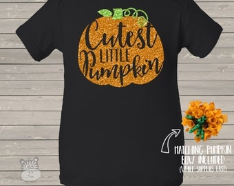 Halloween / fall baby outfit cutest little pumpkin glitter DARK bodysuit or shirt - perfect for Halloween or Thanksgiving DGVCLP