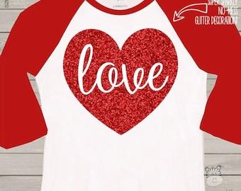Valentine shirt love sparkly red heart GIRLS raglan shirt - fun red glitter Valentine's Day shirt