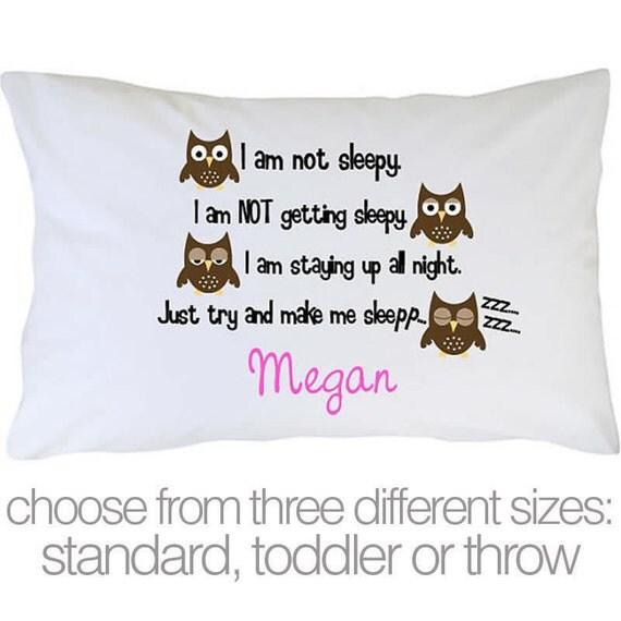 Personalized sleepy owl childrens custom pillowcase
