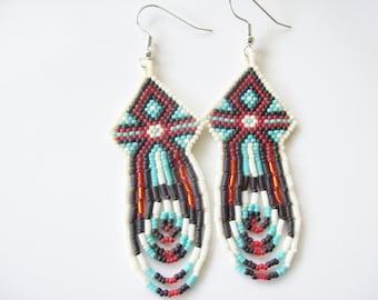 Native American style Beadwork Earrings ,  Dangle Earrings , Beaded dangles ,    Handmade Seed Beaded Earrings , white turquoise earrings