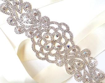 Botanical Wide Aurora Borealis (AB) Crystal Wedding Dress Sash - Rhinestone Encrusted Bridal Belt Sash - Extra Wide Long Wedding Belt