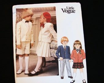 Vintage Little Vogue Pattern Toddler Size 4 UNCUT Boys Girls Jacket, Pleated Skirt, Pants and Shorts Sewing Pattern