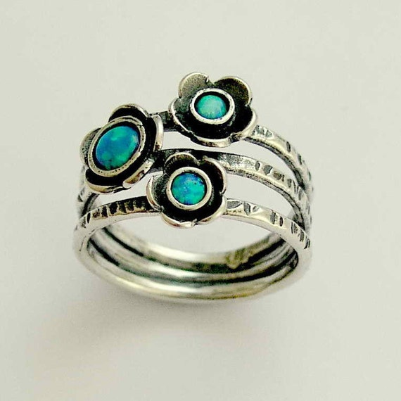 Botanical ring, sterling silver ring, gemstones ring, blue opals ring, stacking rings set, statement ring, blue stones ring - Guess R1686-1