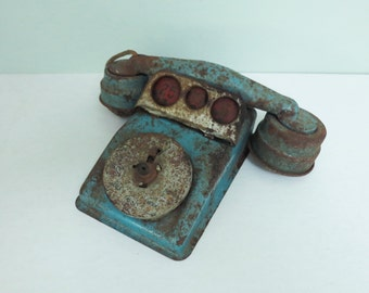 Metal Toy Play Telephone, Blue Paint, Stripped Down with Rotary Dial, Red Coin Slots, Cord Intact, Rusty Nostalgic Art Object