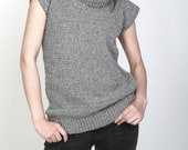 Hand knit crochet sweater crew neck sleeveless pullover sweater grey tunic